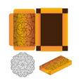gift wrapping box with circular mandala on orange vector image vector image