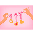 hands holding cute Valentines day garland with vector image vector image