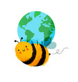 happy bee cartoon holding planet earth isolated vector image vector image