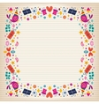 Happy Birthday border lined paper card with space vector image vector image