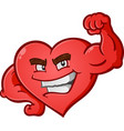 heart flexing muscles cartoon character vector image vector image