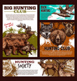hunting banner with wild animal and bird sketch vector image vector image