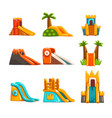 inflatable slides set summer amusement park vector image vector image