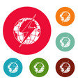 lightning on earth icons circle set vector image vector image
