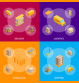 logistic delivery service banner set isometric vector image