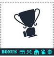 male hand holding winner cup icon flat vector image vector image