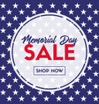 memorial day sale banner template for social media vector image vector image