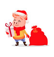 merry christmas cute pig wearing santa claus hat vector image