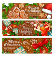 merry christmas gingerbread greeting banner vector image vector image
