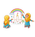 muslim girls draw palace with rainbow on the wall vector image vector image
