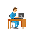 novice working at new office job man workplace vector image vector image