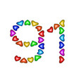 number 91 ninety one of colorful hearts on white vector image