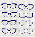 pen eyeglasses collection on notebook page vector image vector image