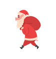 pig character in santa costume walking with red vector image vector image