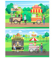 pizza and hot dog vans and coffee and popcorn cart vector image vector image