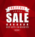 Red banner template background for Christmas sales vector image