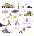 road repair set flat composition vector image