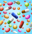seamless pills and tablets pattern vector image