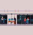 server room or data center with technology workers vector image