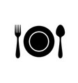 set cutlery with spoon fork dish vector image