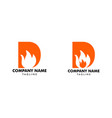Set letter d with flame fire logo design