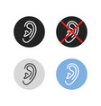 set outline human ear icon vector image