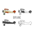 set vintage aircraft design elements retro vector image