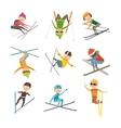 Skiing people tricks vector image vector image