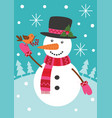 snowman keeps bird with rowan vector image vector image