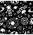 Space black and white seamless pattern vector image