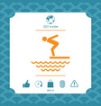 swimmer on a springboard jumping into the water - vector image vector image