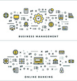 Thin Line Business Management and Online Banking vector image