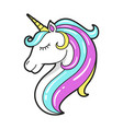 unicorn head icon cute fantasy and fairytale vector image