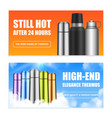 vacuum bottles flasks banners vector image