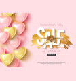 valentines day sale design with pink and gold vector image vector image