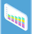 white smartphone with candle stick chart on the vector image