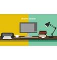 graphic design profession workdesk monitor printer vector image