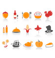orange and red color series thanksgiving icons set vector image