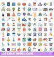 100 smart house icons set cartoon style vector image vector image