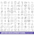 100 web development icons set outline style vector image vector image