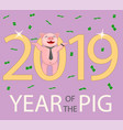 a pig in a tie and a watch wishes a happy new year vector image vector image