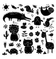 animal doodles set cute animals sketch hand drawn vector image vector image