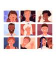 avatars portrait profile young woman man heads vector image