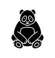 big panda black glyph icon vector image