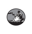 Camper Campfire Cup of Coffee Circle Woodcut vector image