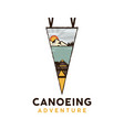 canoeing adventure logo retro camping emblem vector image vector image
