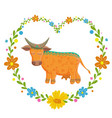card with lovely cute pattern cow in heart of vector image
