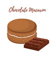 chocolate macaron with meringue cream vector image vector image