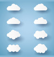 cloud set paper art style vector image vector image