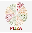 contour pizza vector image